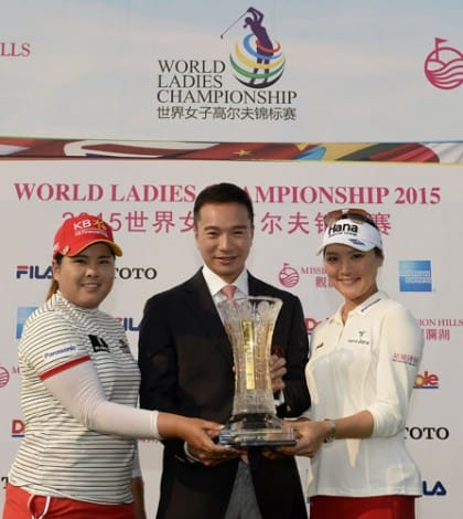 HAIKOU- HAINAN ISLAND-CHINA- Left-right- Inbee Park of Korea,Tenniel Chu - Vice Chairman -Mission Hills Group and So Yeon Ryu of Korea with the Best Team trophy, Sunday, March 15, 2015, after the final round of the World Ladies Championship at the Blackstone Course, Mission Hills Golf Resort, Haikou, Hainan Island, China. Picture by Paul Lakatos/Mission Hills.